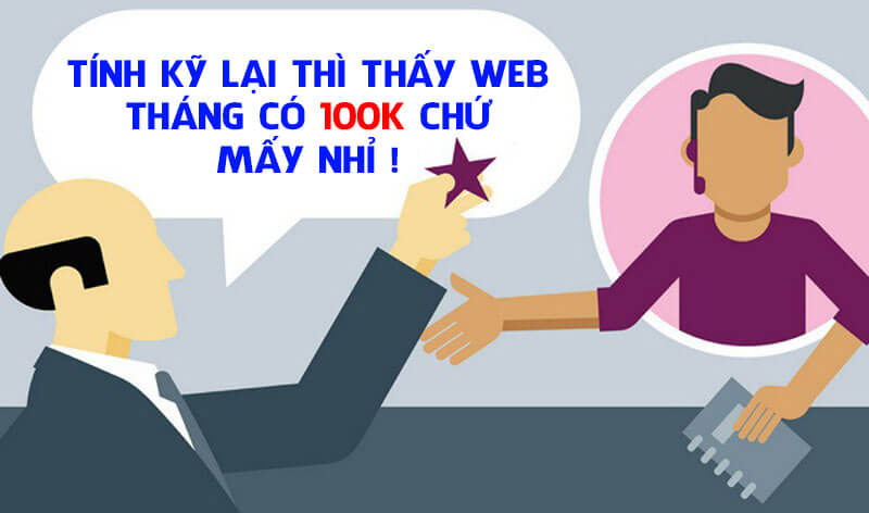 Chi phí đầu tư cho website là 100k mỗi tháng