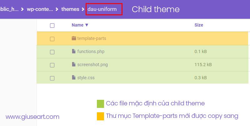 Thư mục Template-part được copy sang child theme, bên cạnh là các file mặc định của child theme